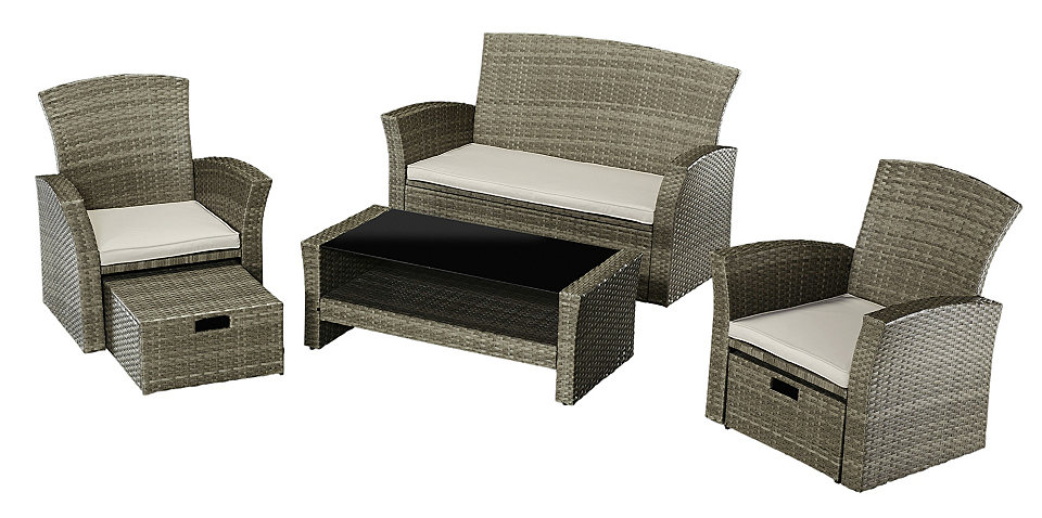 loungeset salerno premium 9 tgl 2 sessel m fu hocker 2er sofa tisch polyrattan online. Black Bedroom Furniture Sets. Home Design Ideas